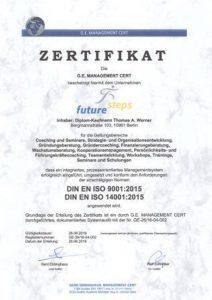 ISO Zertifikat future steps 9001:2015 und 14001:2015 Bild